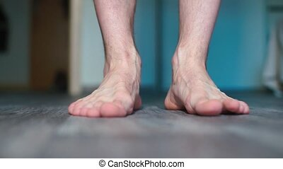 floor., gros plan, debout, pieds, mâle