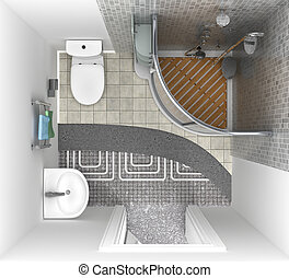 floor heating system in the bathroom, top view. 3d illustration
