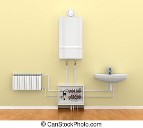 floor heating system, the collector, the battery. 3d illustration