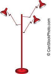 Floor lamp with three lights. Vector illustration.