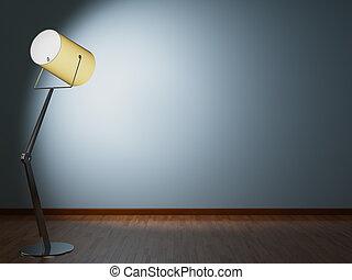 Modern floor lamp illuminates wall