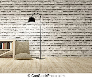 Floor lamp with bookcase on wooden floor bricks wall