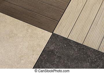 Floor material samples