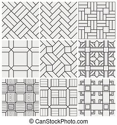 Floor material tiles vector seamless patterns