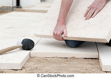 Floor montage - Montage a new concrete slabs on a ground
