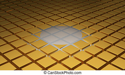 Floor of Golden Cubes with a Beginning of Wave