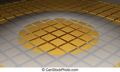 Floor of Golden Cubes with a Big Circle Wave