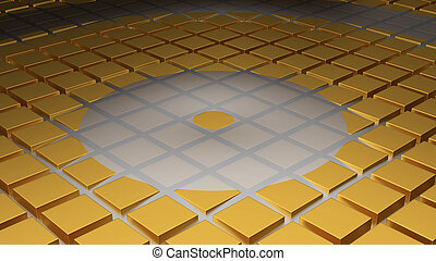 Floor of Golden Cubes with a Circle Wave