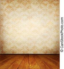 floor., oud, muur, houten, vector.