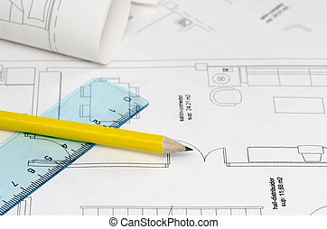 Floor plan - A floor plan with yellow pencil and ruler on ...