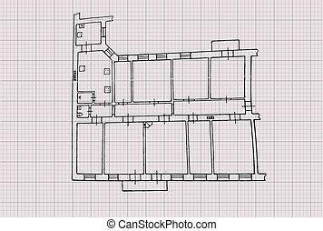 Floor plan. Drawing on graph paper. Vector illustration.