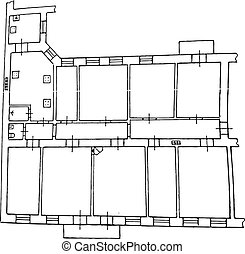 Floor plan. Drawing. Vector illustration on isolated background.