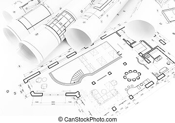 Floor plan drawings - Architect's work place with rolled ...