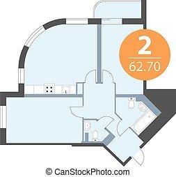 Floor plan of apartment top view. House vector blueprint design.