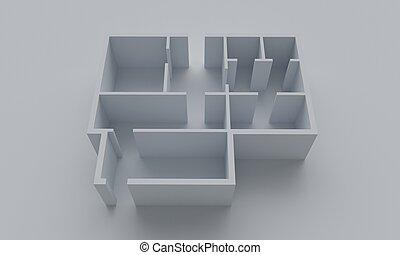Floor plan of the house. 3d rendering
