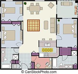 Floor plan of three-bedrooms condo - Vector shows the ...
