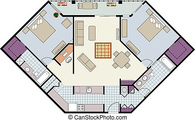 Vector shows the architectural plan of 2bedroom condo with den and furniture.