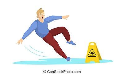 floor., precaución, mojado, caer, hombre, señal, advertencia