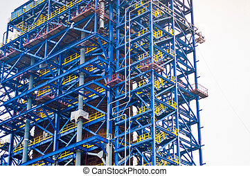 Floor, stairs on a huge process unit, oil refinery, petrochemical plant