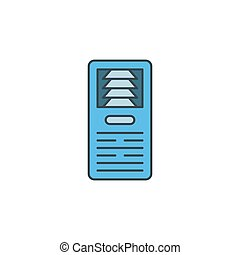 Floor standing air conditioner icon, color, line, outline ...