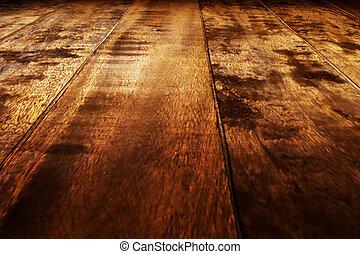 Floor - Wooden floor with light effects. Blank illustration