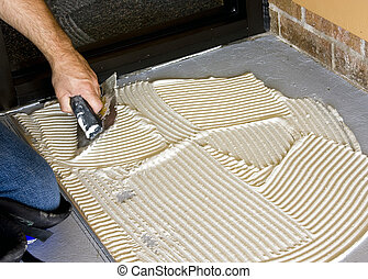 Floor tile preperation