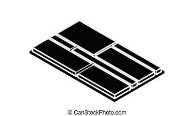 Floor tiles icon animation isometric black object on white background