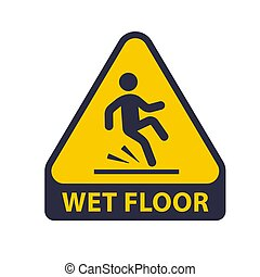 floor., triangular, mojado, advertencia, slipping., hombre