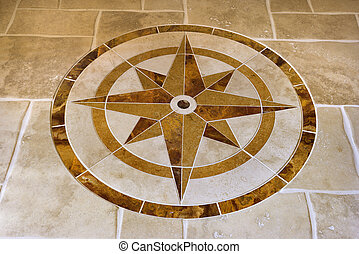 Floor with star shape. - Marble floor with star shape in...