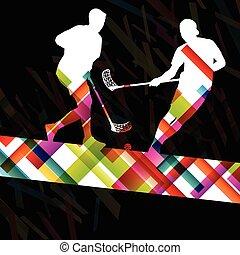 floorball, 健康, 抽象的, プレーヤー, シルエット, ベクトル, 背景, 活動的, スポーツ