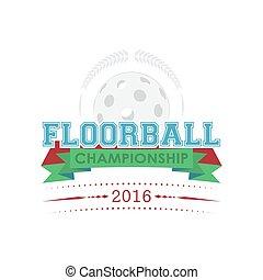 floorball, campeonato, emblema, vector.