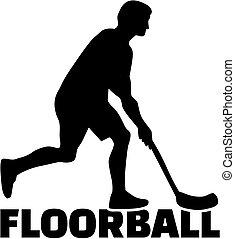 floorball, joueur, homme, à, mot