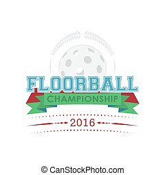 floorball, meisterschaft, emblem, vector.