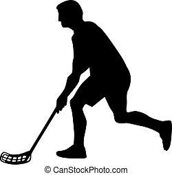 Floorball player silhouette