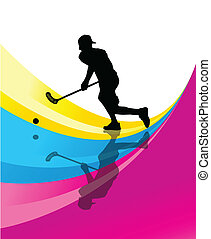 Floorball player vector silhouette abstract background