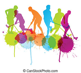Floorball player vector silhouette background concept with ink splashes for poster