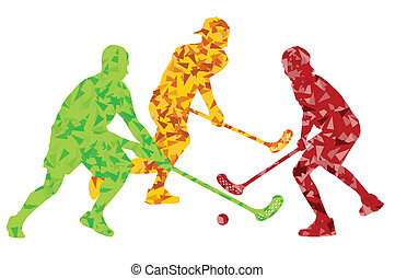 Floorball players vector silhouette background abstract...