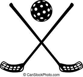 Floorball sticks with ball