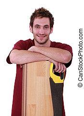 floorboard, mann, säge, junger, hübsch