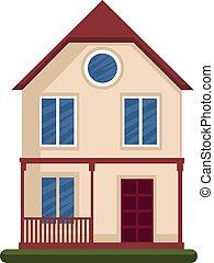 floore, 房子, 现代, 描述, 一, 矢量, 背景, 白色