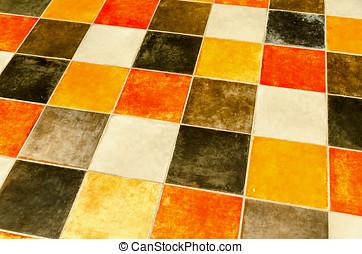 Flooring - Floor made with multicoloured ceramic tiles
