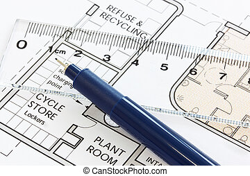 Floorplan with pen and ruler