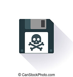 Floppy disc icon with a - Illustration of an isolated floppy...