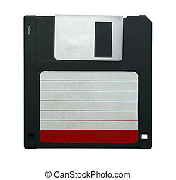 """Black 3.5"""" floppy disk with empty label isolated on white"""