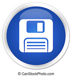 Floppy disk icon blue glossy round button
