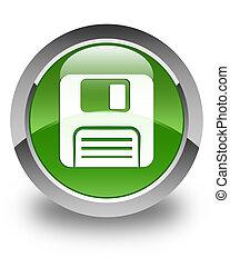 Floppy disk icon glossy soft green round button