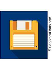 Floppy Disk icon in flat style on blue background with shadow. HD diskette old data media. Vector Illustration