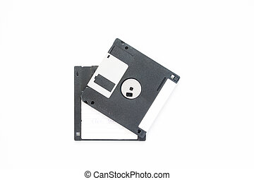 Floppy Disk magnetic computer data storage support on white background with copy space