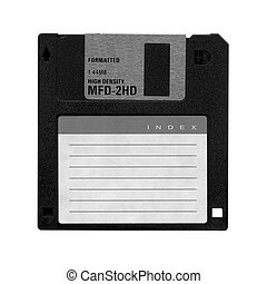 Floppy Disk magnetic computer data storage support - in black and white