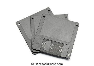 Floppy disk magnetic computer data storage support over white background